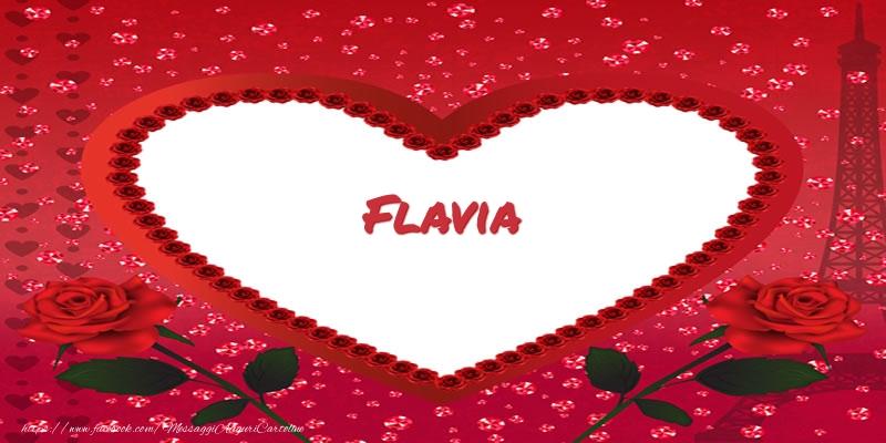 Cartoline d'amore | Nome nel cuore Flavia