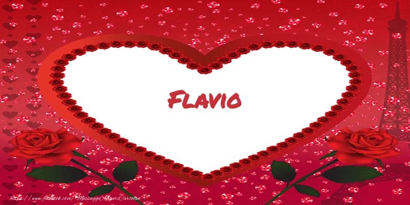 Cartoline d'amore | Nome nel cuore Flavio