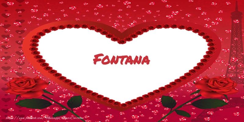 Cartoline d'amore   Nome nel cuore Fontana