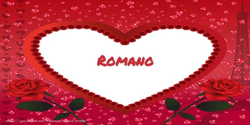Cartoline d'amore   Nome nel cuore Romano