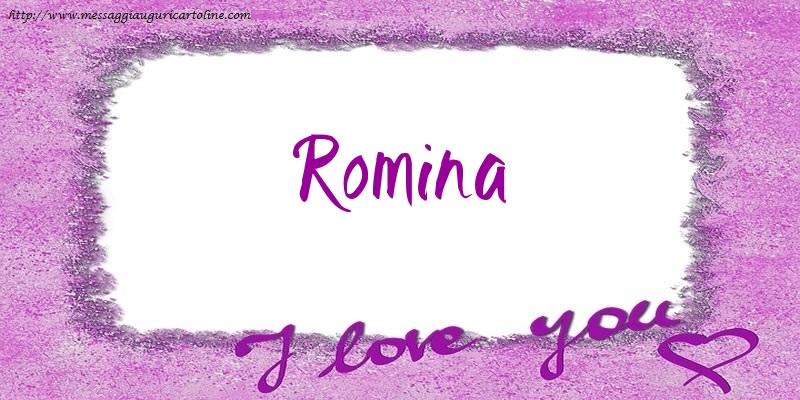Cartoline d'amore   I love Romina!