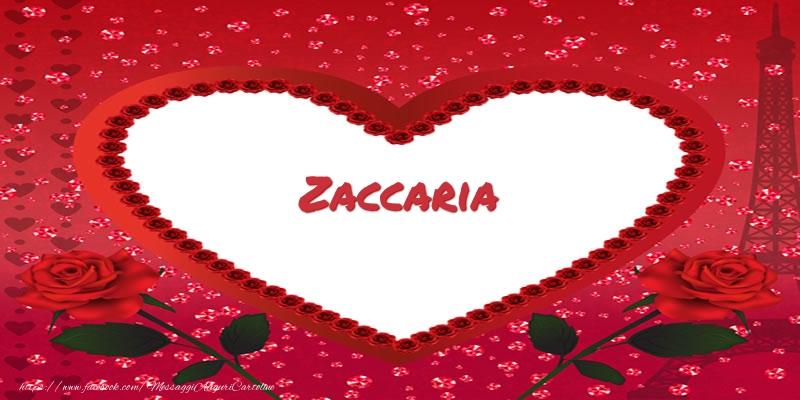 Cartoline d'amore   Nome nel cuore Zaccaria