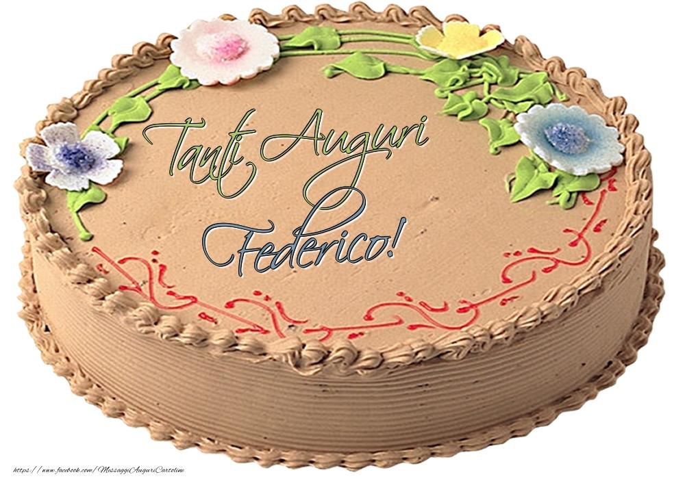 Cartoline di compleanno | Federico - Tanti Auguri! - Torta