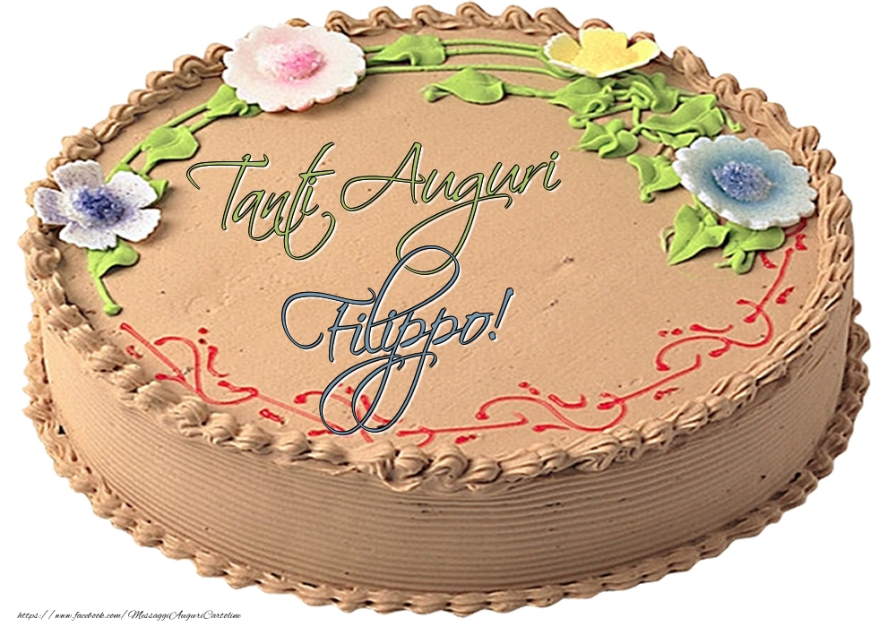 Cartoline di compleanno | Filippo - Tanti Auguri! - Torta