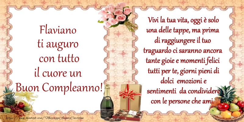 Cartoline di compleanno | Flaviano ti auguro con tutto il cuore un Buon Compleanno!