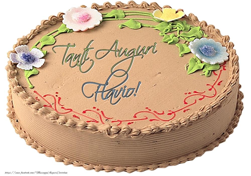 Cartoline di compleanno | Flavio - Tanti Auguri! - Torta
