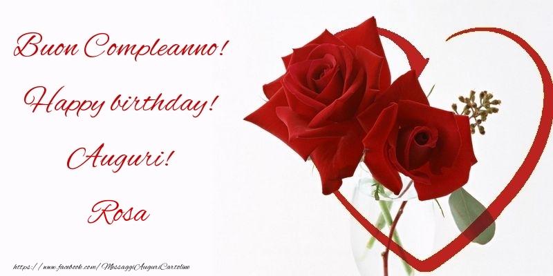 Eccezionale Buon Compleanno! Happy birthday! Auguri! Rosa | Cartoline di YZ68