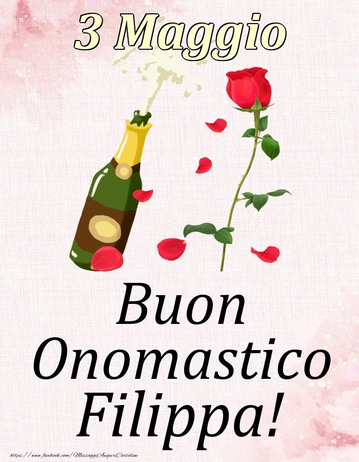 Cartoline di onomastico | Buon Onomastico Filippa! - 3 Maggio
