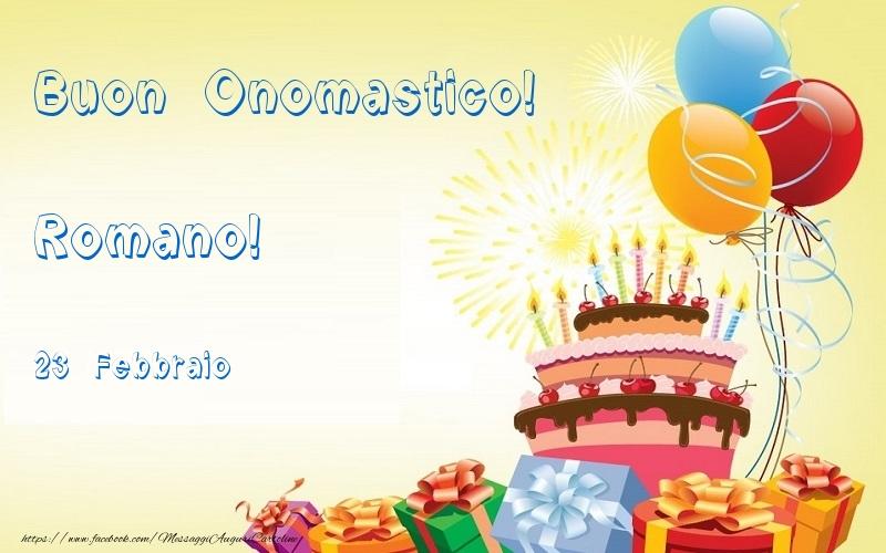 Cartoline di onomastico   Buon Onomastico  Romano! 23 Febbraio