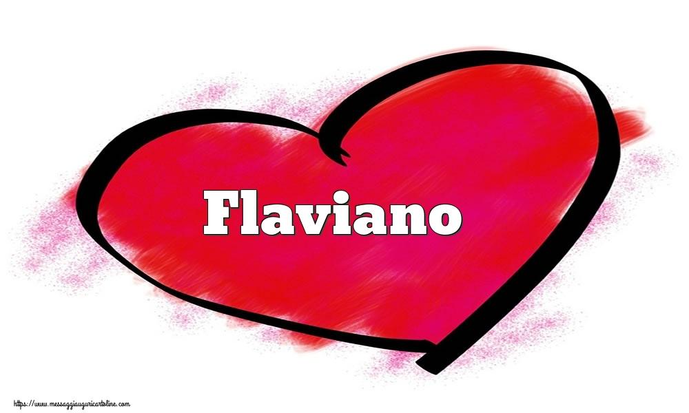 Cartoline di San Valentino | Nome Flaviano  nel cuore
